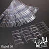 Clear triple nail polish swatch sticks with metal ring holder. Package of 50. Available at Girly Bits Cosmetics.