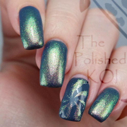 AVAILABLE AT GIRLY BITS COSMETICS www.girlybitscosmetics.com The Golden Ones (Limited Edition) from Polish Con White Plains by Bee's Knees Lacquer | Photo credit: The Polished Koi (shown layered over Greylings)