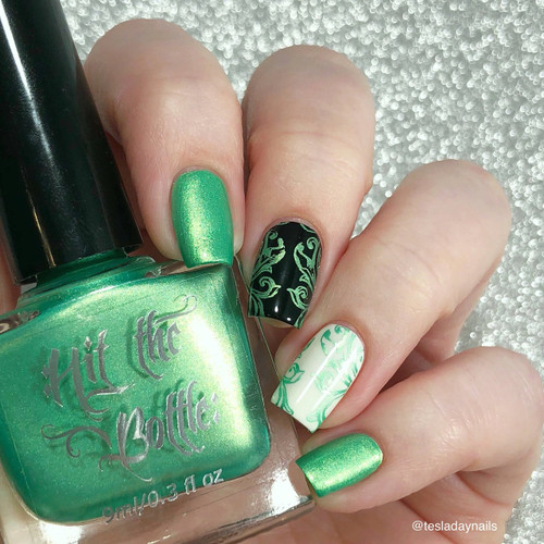 Sweet child of Lime {Stamping Polish} by Hit the Bottle AVAILABLE AT GIRLY BITS COSMETICS www.girlybitscosmetics.com | Photo credit: @tesladaynails