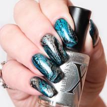 Glitz Metallic Silver Fluid Art Polish by Baroness X