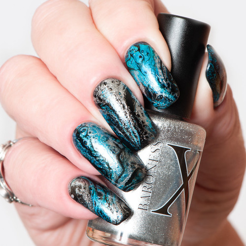 Glitz Metallic Silver Fluid Art Polish by Baroness X