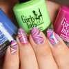 Swatch courtesy of (IG) @lylynails | GIRLY BITS COSMETICS water marbling with I've Got High Hoops, It's Hoop To Be Square and Don't Paddle Break A Nail
