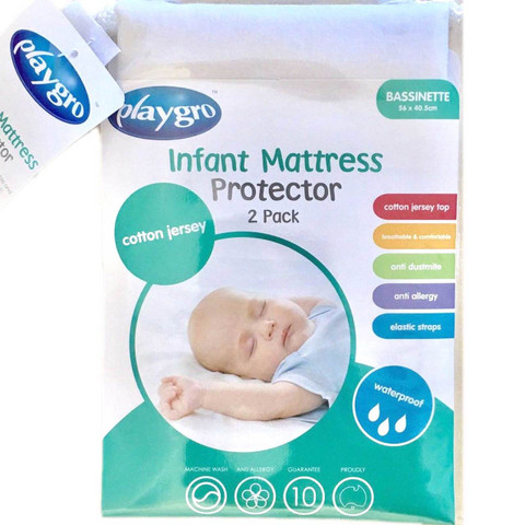 BASSINET | Playgro Cotton Waterproof Mattress Protectors 2PK