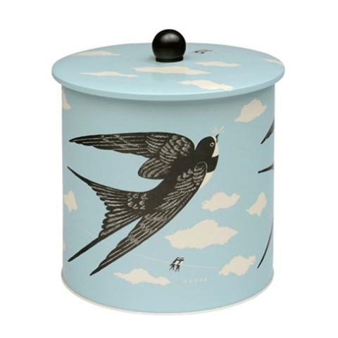 JOHN HANNA | bird biscuit tin barrel | home ware storage tin