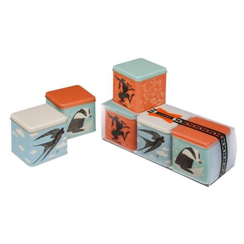 JOHN HANNA   square storage canister tins   set of 3