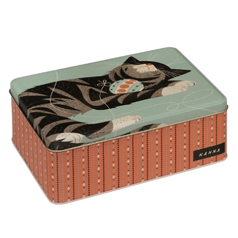 JOHN HANNA | square cat storage tin | home ware