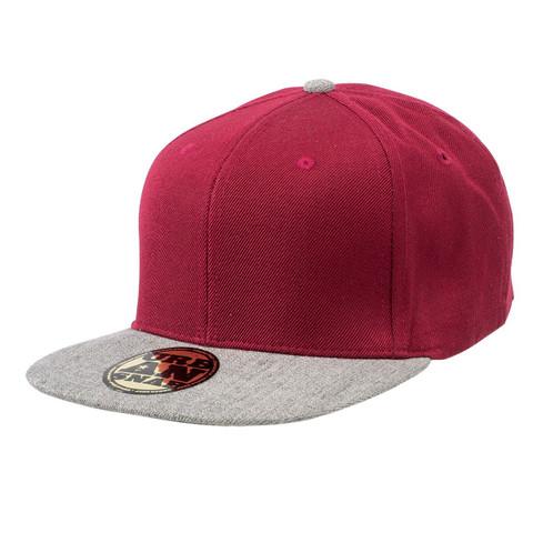 wool/acrylic two-tone snapback caps | burgundy + grey marle
