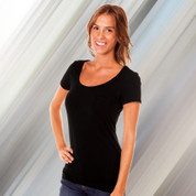 womens plain longer stretch tshirt