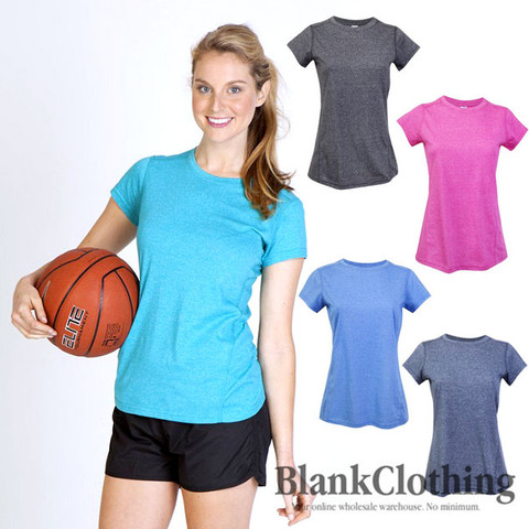 ladies plain active workout top heather tshirts