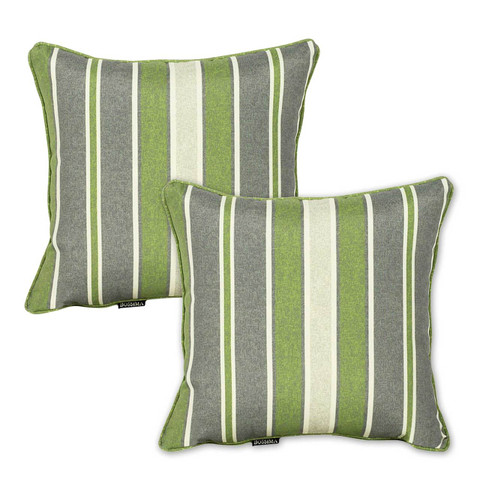 green striped outdoor throw pillows |  Set of 2