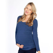 blue stripe maternity long sleeve tshirt