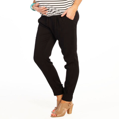 buy online plain black maternity rayon harem pants