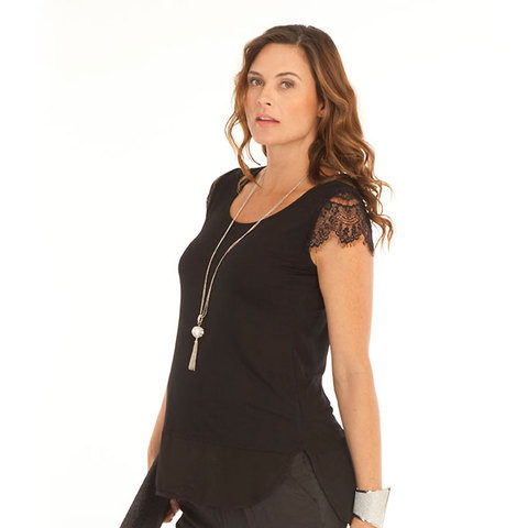 stretch maternity chiffon top with lace sleeves