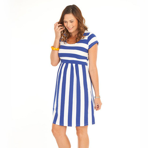 striped maternity nursing dress | pregnancy clothing