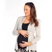 cotton roll collar knitted maternity cardigan
