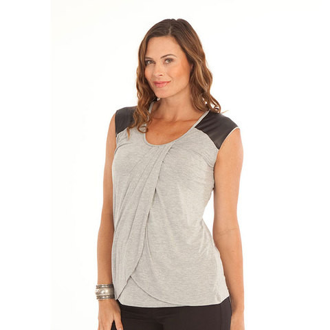plain grey stretch nursing petal tank top