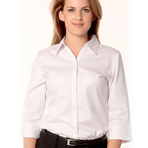 Ladies 100% cotton business shirt | 3/4 sleeves | pink