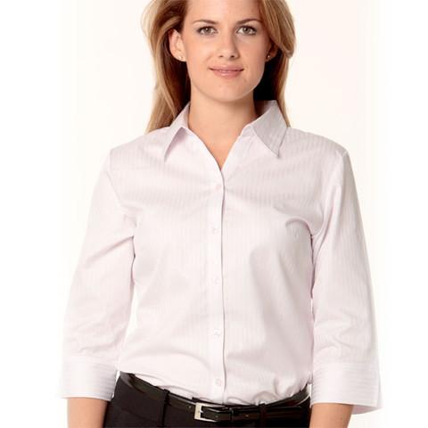 Womens 100 Cotton Shirts 3 4 Sleeves Plain Business
