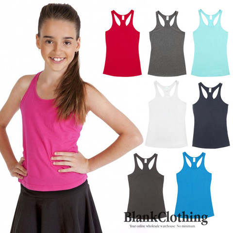 childrens plain racerback singlets | 100% cotton