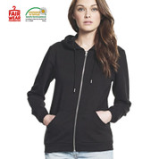 fair trade eco plain zip hoodies | black