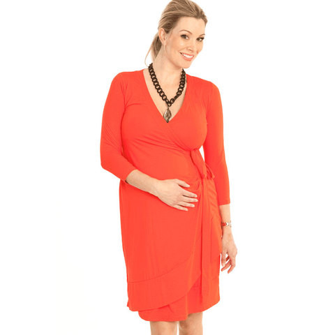 red maternity nursing wrap dress