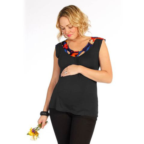 plain black sleeveless maternity jersey top