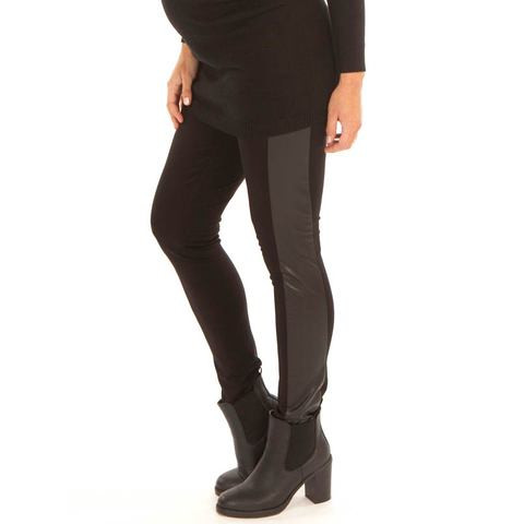black faux leather panel  maternity slim pants