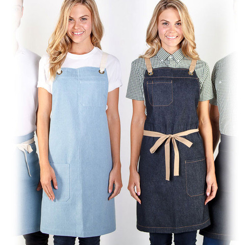 contrast strap denim full aprons