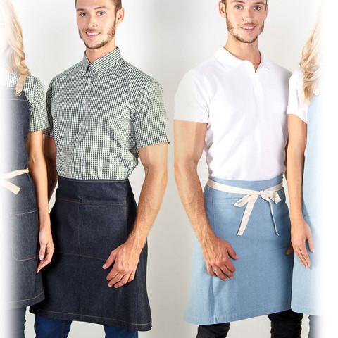 contrast strap denim apron | half waist