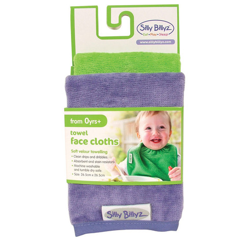 2 pack velour towel face cloths | lilac+lime