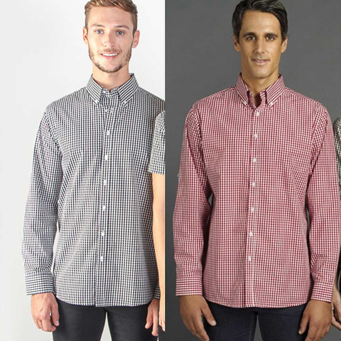 long sleeve mens gingham shirt | wholesale supplier