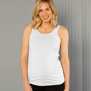 white maternity stretchy cotton singlet