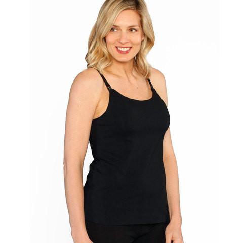 basic plain black nursing singlet with built in bra