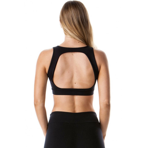 open back compression crop top | black