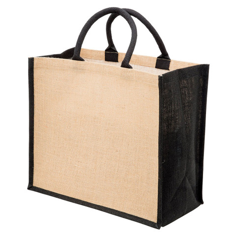 buy online plain eco jute tote bags | natural+black