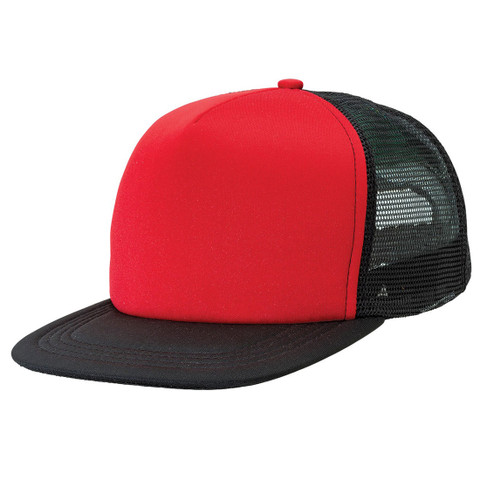 bulk buy flat peak trucker hat | black+red