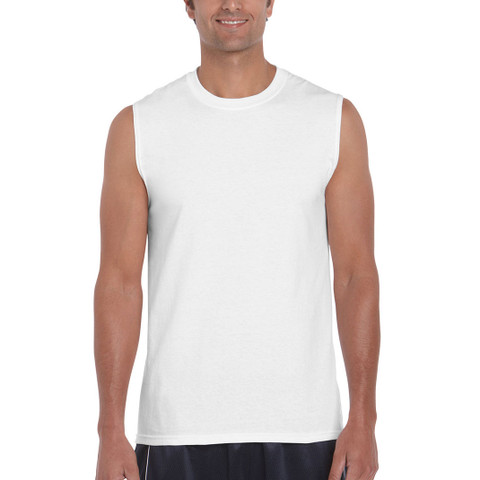plain sleeveless cotton tshirt tank top | white