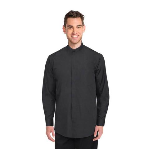 Mens Black Banded Collar Shirt