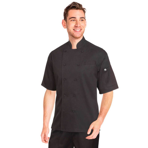 Short Sleeve Cool Vent Chef Jacket | Black