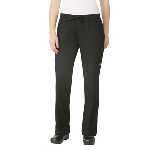 womens black chef pants | elastic waist