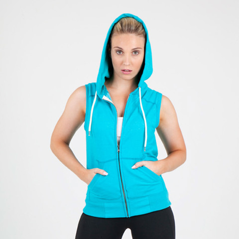 bulk buy wholesale ladies sleeveless zip hoodies