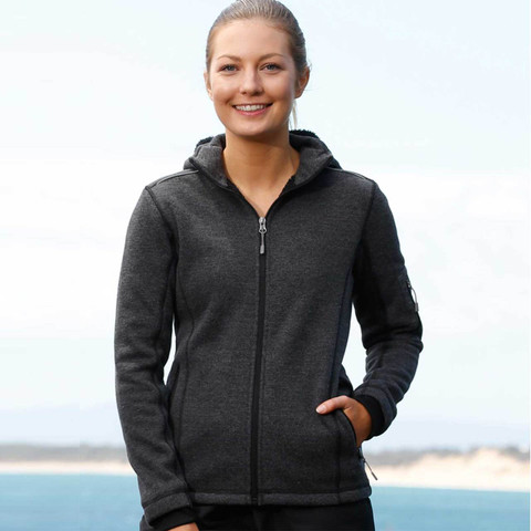 Ladies Heather Black Bonded Fleece Jacket with thumb holes