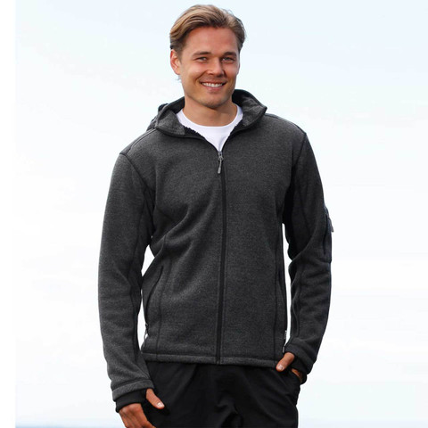 Mens Heather Fleece Jacket with Detachable Hood