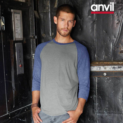 Anvil Tri Blend Raglan Tshirt | 3/4 Sleeves