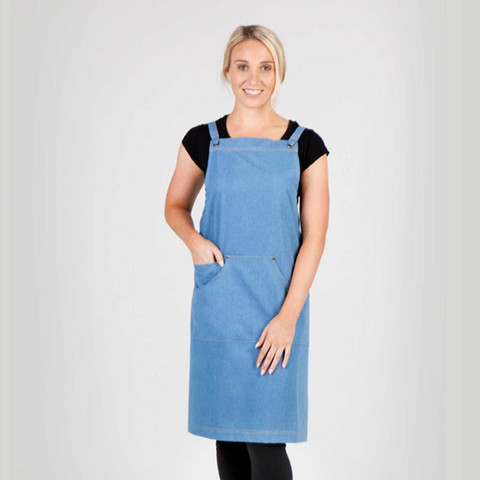 Wholesale Plain Cross back denim full aprons