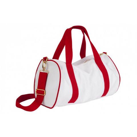 Bulk Buy Mini Canvas Sports Bags - White+Red