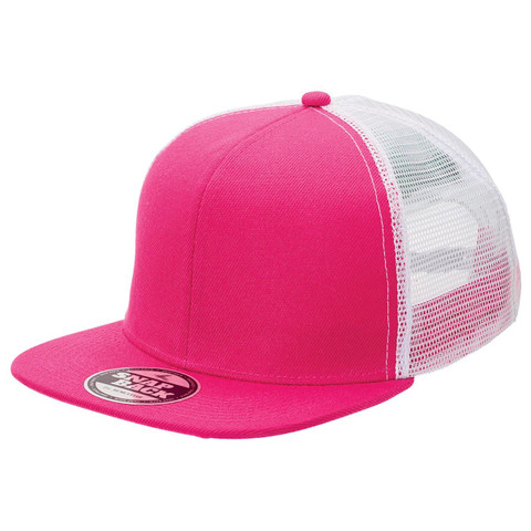 Plain Snapback Trucker Cap - Hot Pink + White