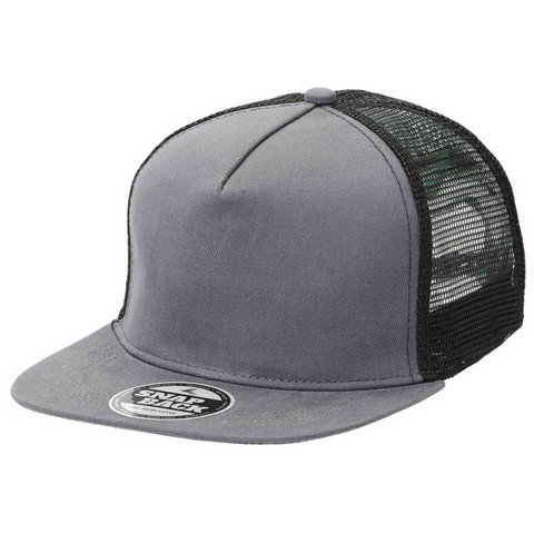 Plain Chino Snapback Trucker Cap - Charcoal + Black