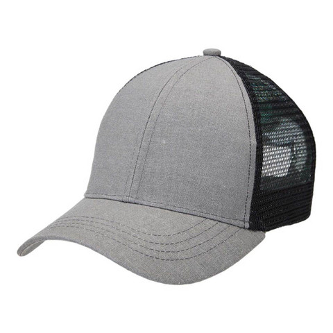 Wholesale Hemp Trucker Caps -Charcoal+Black