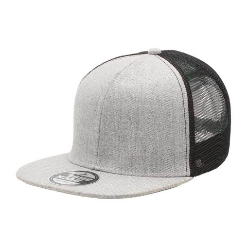 Plain Heather Flat Peak Trucker Cap | Grey+Black